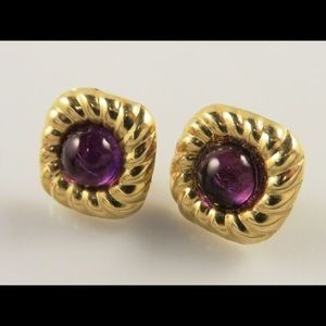 Vintage 14k Amethyst Cabochon Earrings